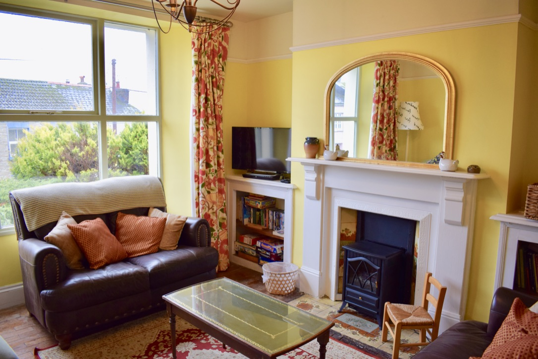 The Gables sitting room and fireplace